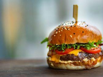 Hamburger on a table