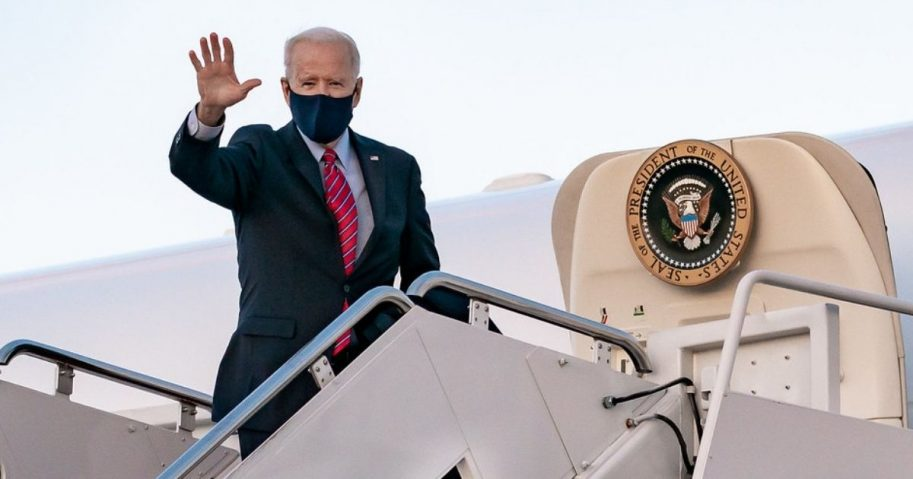 President Joe Biden waves as he boards Air Force One at Joint Base Andrews, Maryland Friday, Feb. 5, 2021, en route to New Castle County Airport in New Castle, Delaware. (Official White House Photo by Carlos Fyfe)