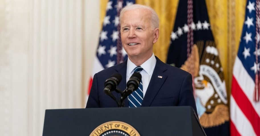 President Joe Biden smiles during his first official press conference Thursday, March 25, 2021, in the East Room of the White House. (Official White House Photo by Adam Schultz)