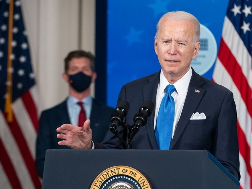 Johnson & Johnson CEO Alex Gorsky looks on as President Joe Biden delivers remarks on COVID-19 vaccine production Wednesday, March 10, 2021, in the South Court Auditorium in the Eisenhower Executive Office Building at the White House. (Official White House Photo by Adam Schultz)