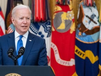 President Joe Biden, joined by Vice President Kamala Harris, Secretary of Defense Lloyd Austin, U.S. Air Force Gen. Jacqueline Van Ovost, and U.S. Army Lt. Gen. Laura Richardson, delivers remarks during an event to announce the President's Combatant Commanders nominees Monday, March 8, 2021, in the East Room of the White House. (Official White House Photo by Adam Schultz)