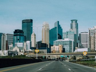 View of downtown Minneapolis from the highway