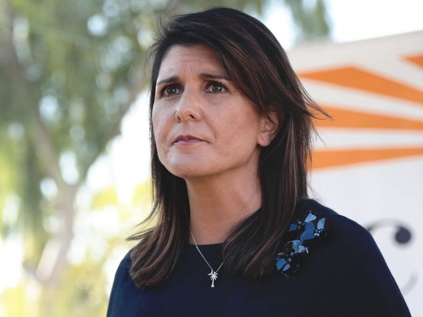 U.S. Senator Martha McSally and former United Nations Ambassador Nikki Haley speaking with the media after a campaign event at a home in Scottsdale, Arizona.