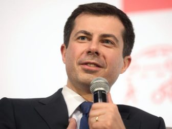 Former Mayor Pete Buttigieg speaking with attendees at the Moving America Forward Forum hosted by United for Infrastructure at the Student Union at the University of Nevada, Las Vegas in Las Vegas, Nevada.