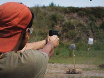 Man practicing at a shooting range