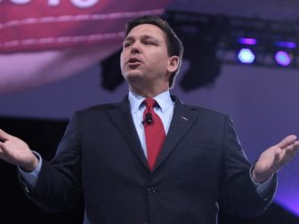U.S. Congressman Ron DeSantis speaking at the 2016 Conservative Political Action Conference (CPAC) in National Harbor, Maryland.