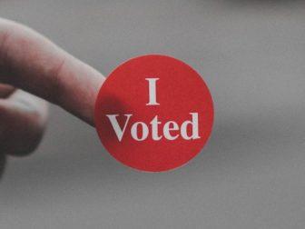 """Red 'I Voted"""" sticker"""