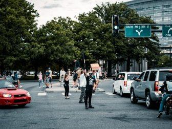 People rioting in the street