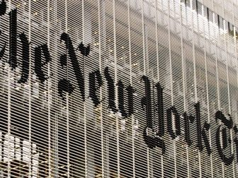 The New York Times sign on building