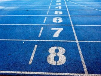 Starting lines and numbers on a track
