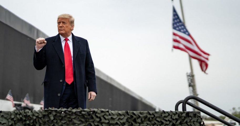 President Donald J. Trump concludes his remarks at the 450th mile of the new border wall Tuesday, Jan. 12, 2021, near the Texas Mexico border. (Official White House Photo by Shealah Craighead)