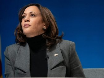 Vice President Kamala Harris listens during a virtual tour of the Community Vaccination Center at State Farm Stadium in Glendale, Arizona Monday, Feb. 8, 2021, in the South Court Auditorium in the Eisenhower Executive Office Building of the White House. (Official White House Photo by Lawrence Jackson)