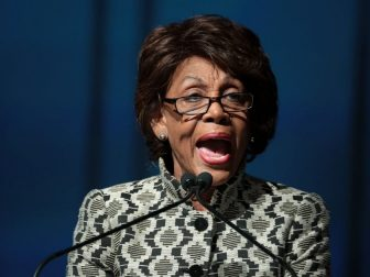 U.S. Congresswoman Maxine Waters speaking with attendees at the 2019 California Democratic Party State Convention at the George R. Moscone Convention Center in San Francisco, California.