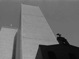 The World Trade Center and St. Nicholas Greek Orthodox Church, which began services at 155 Cedar Street in 1922. All three buildings were among those destroyed in the 9/11 terrorist attacks on New York City in 2001.