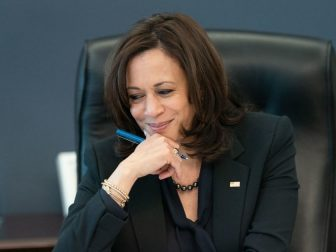 Vice President Kamala Harris listens during a phone call with World Trade Organization General Dr. Okonjo-Iweala Thursday, March 11, 2021, in her West Wing Office of the White House. (Official White House Photo by Lawrence Jackson)