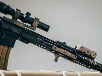 AR-15 standing up on a case