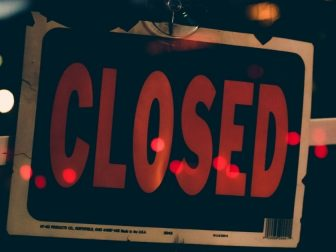 Closed sign in a store window