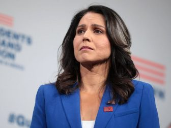 U.S. Congresswoman Tulsi Gabbard speaking with attendees at the Presidential Gun Sense Forum hosted by Everytown for Gun Safety and Moms Demand Action at the Iowa Events Center in Des Moines, Iowa.