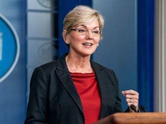 Secretary of Energy Jennifer Granholm addresses reporters Thursday April 8, 2021, in the James S. Brady Press Briefing Room of the White House.