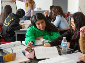 Group of female students in high school math class