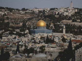 Dome of the Rock, over the skyline of the Old City of Jerusalem.