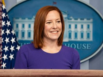 Press Secretary Jen Psaki answers questions from members of the press Wednesday, Feb. 24, 2021, in the James S. Brady Press Briefing Room of the White House. (Official White House Photo by Chandler West)