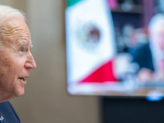 President Joe Biden participates in a virtual bilateral meeting with Mexican President Andrés Manuel López Obrador Monday, March 1, 2021, in the Roosevelt Room of the White House. (Official White House Photo by Adam Schultz)