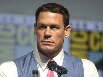 """John Cena speaking at the 2018 San Diego Comic Con International, for """"Bumblebee"""", at the San Diego Convention Center in San Diego, California."""