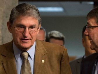 Secretary of Defense Ash Carter speaks with U.S. Senator for West Virginia, Joe Manchin as Carter arrives to testify before the Senate Armed Services Committee on U.S. military strategy in the Middle East Oct. 27, 2015. (Photo by Senior Master Sgt. Adrian Cadiz)(