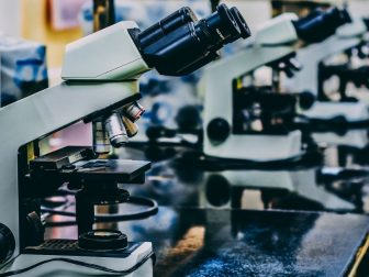Microscopes in a lab