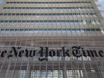 New York Times sign on 8th Avenue Manhattan
