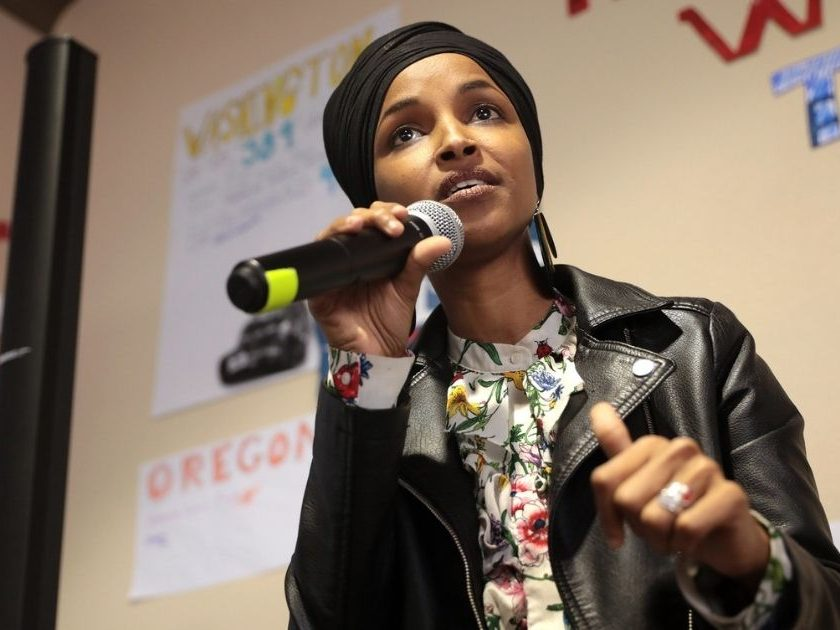 U.S. Congresswoman Ilhan Omar speaking with supporters of U.S. Senator Bernie Sanders at a canvass launch at the Bernie Sanders for President southwest campaign office in Las Vegas, Nevada.