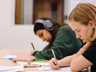 Students working on schoolwork