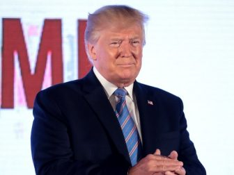 President of the United States Donald Trump speaking with attendees at the 2019 Teen Student Action Summit hosted by Turning Point USA at the Marriott Marquis in Washington, D.C.