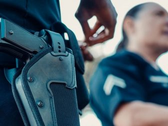 A police officer's gun and holster