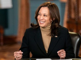 Vice President Kamala Harris participates in an interview on the NBC Today Show with anchor Savannah Guthrie Wednesday, Feb. 17, 2021, in the Vice President's Ceremonial Office in the Eisenhower Executive Office Building of the White House. (Official White House Photo by Lawrence Jackson)