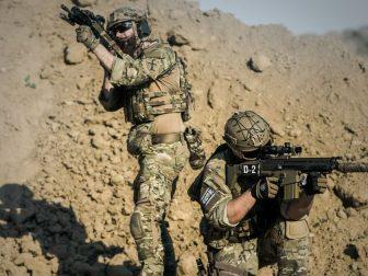 Military men in the desert