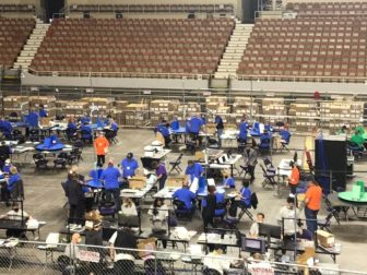 The audit of Maricopa County's votes from the 2020 general election continues in the Veterans Memorial Coliseum in Phoenix on Wednesday.