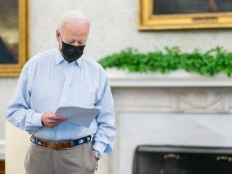 President Joe Biden attends and meeting with Bob Bauer and staff Saturday, April 10, 2021, in the Oval Office of the White House.
