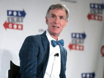Bill Nye the Science Guy speaking at the 2016 Politicon at the Pasadena Convention Center in Pasadena, California.