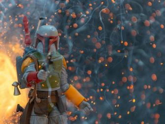 Experimenting with pyrotechnics and a Boba Fett figure
