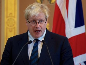 Newly installed British Foreign Secretary Boris Johnson addresses reporters in the gilded Lacarno Media Room in the Foreign & Commonwealth Office in London U.K., on July 19, 2016, during a news conference with U.S. Secretary of State John Kerry following their first bilateral meeting.