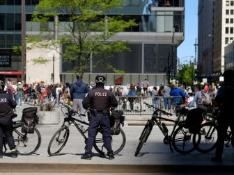 Chicago police on a sidewalk