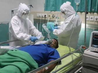 simulated covid-19 patients are in the ICU room