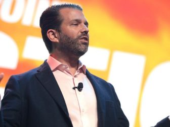 Donald Trump, Jr. speaking with attendees at the 2020 Student Action Summit hosted by Turning Point USA at the Palm Beach County Convention Center in West Palm Beach, Florida.