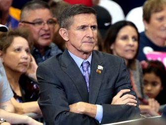 Retired U.S. Army lieutenant general Michael Flynn at a campaign rally for Donald Trump at the Phoenix Convention Center in Phoenix, Arizona.