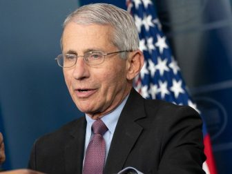 Director of the National Institute of Allergy and Infectious Diseases Dr. Anthony S. Fauci addresses his remarks and urges citizens to continue to follow the President's coronavirus guidelines during a coronavirus (COVID-19) briefing Wednesday, April 22, 2020, in the James S. Brady White House Press Briefing Room of the White House.
