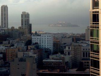Foggy Alcatraz Island