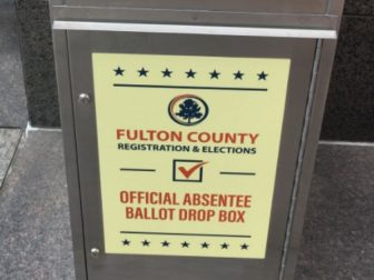An official drop box for absentee ballots in Fulton County, Georgia, is shown before the Nov. 3, 2020, election.