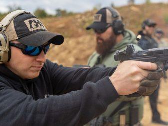 Men at an outdoor gun range